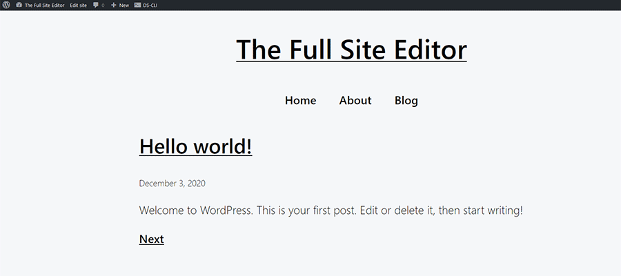 A front-end view of the WordPress Q theme.