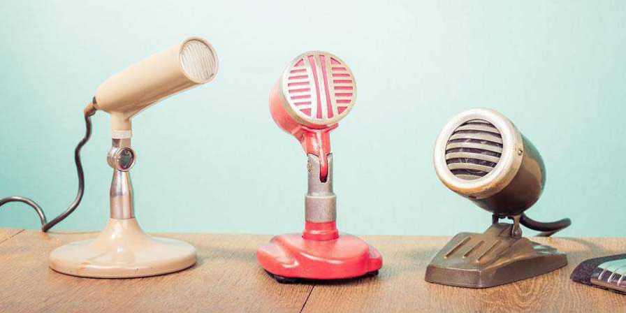 row microphones vintage blue wood