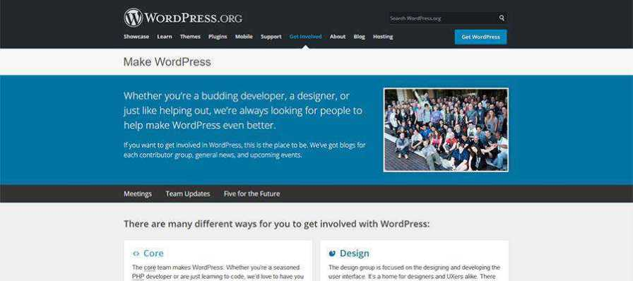The Make WordPress home page.