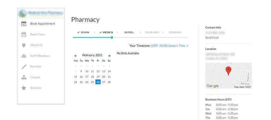 COVID-19 vaccine scheduling screen.