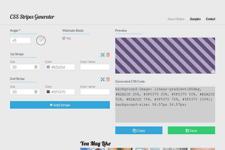 Example from CSS Stripes Generator