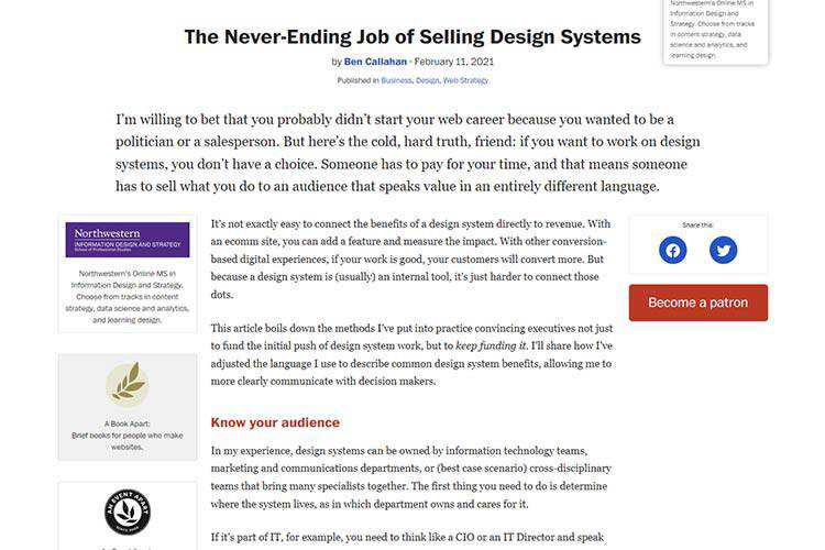 Example from The Never-Ending Job of Selling Design Systems