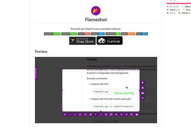 Example from Flameshot