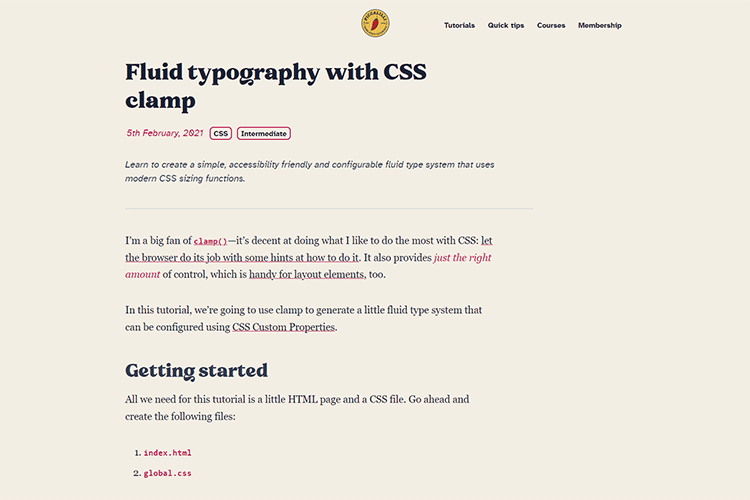 Example from Fluid typography with CSS clamp