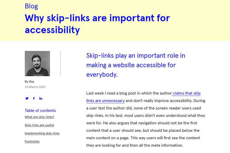 Example from Why skip-links are important for accessibility