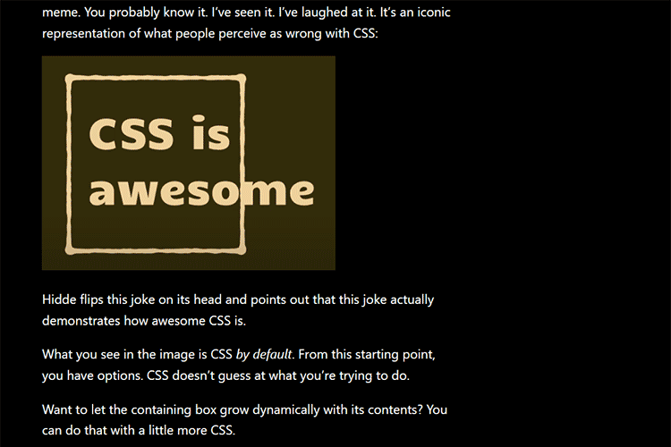 Example from CSS Is, In Fact, Awesome