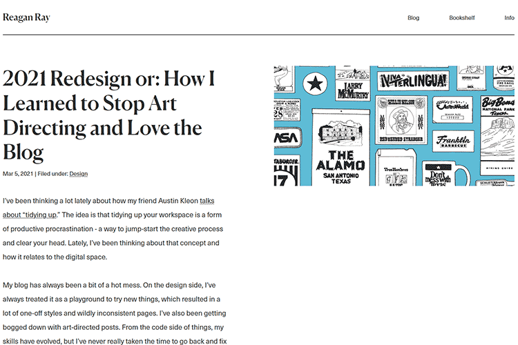 Example from 2021 Redesign or: How I Learned to Stop Art Directing and Love the Blog