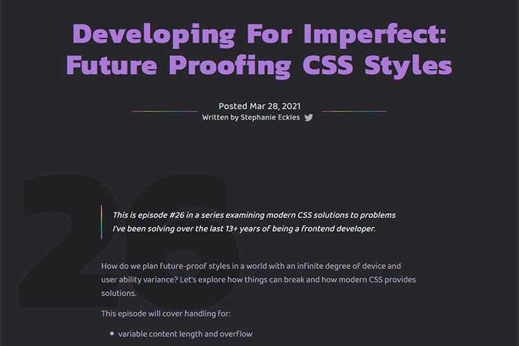 Example from Developing For Imperfect: Future Proofing CSS Styles