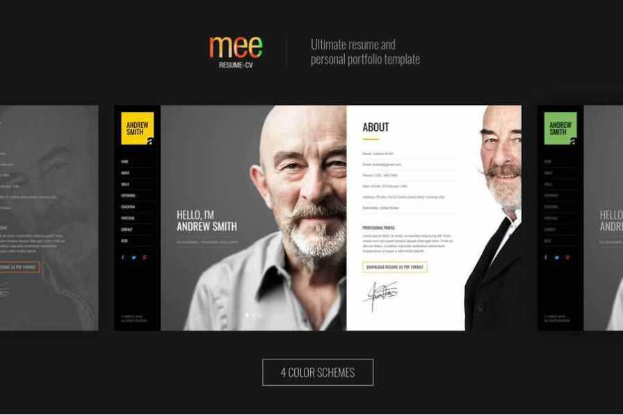 mee free resume html templates cv
