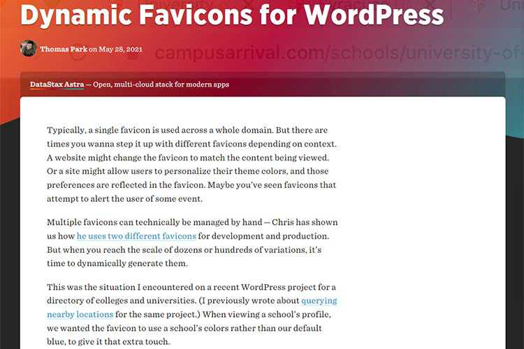 Example from Dynamic Favicons for WordPress