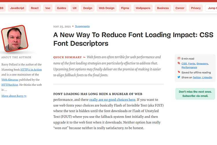 Example from A New Way To Reduce Font Loading Impact: CSS Font Descriptors