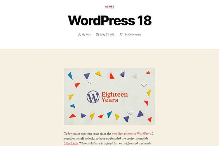 Example from WordPress 18