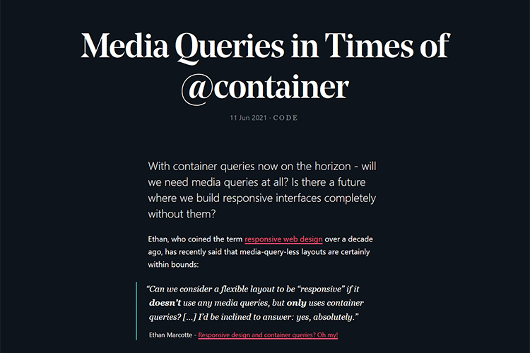 Example from Media Queries in Times of @container