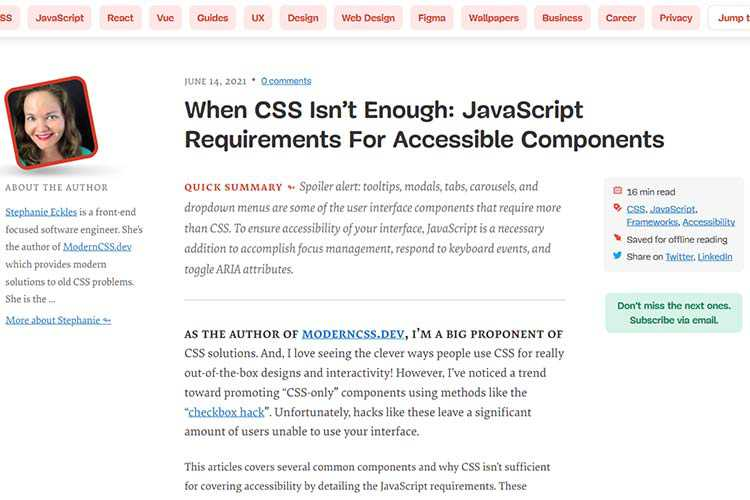 Example from When CSS Isn't Enough: JavaScript Requirements For Accessible Components