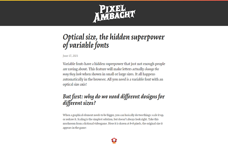 Example from Optical size, the hidden superpower of variable fonts