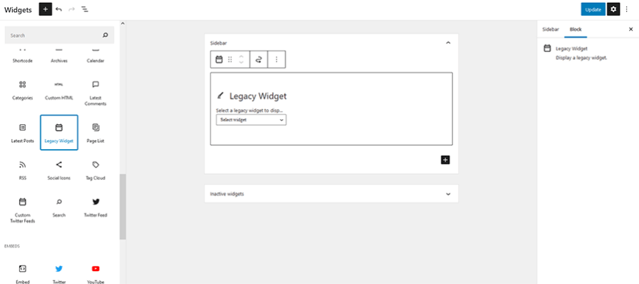 The Legacy Widget Block.