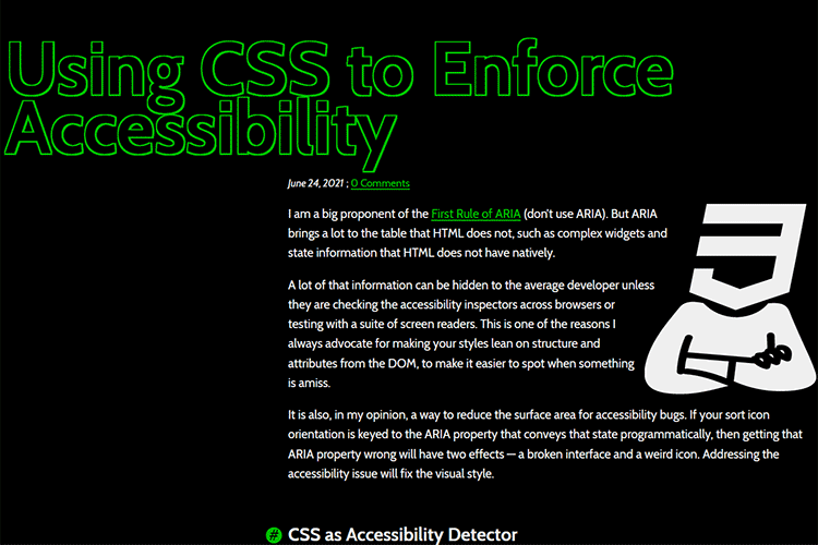 Example from Using CSS to Enforce Accessibility