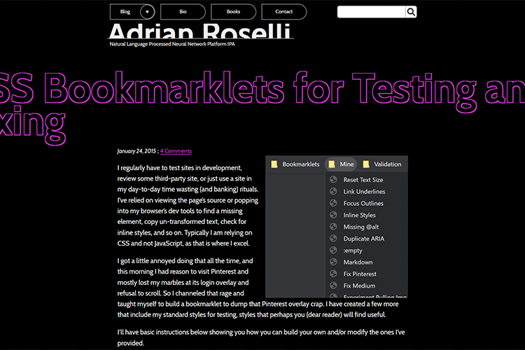 Example from CSS Bookmarklets for Testing and Fixing