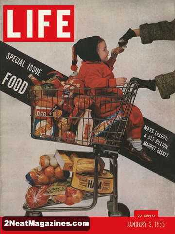life magazine cover shopping cart food issue design