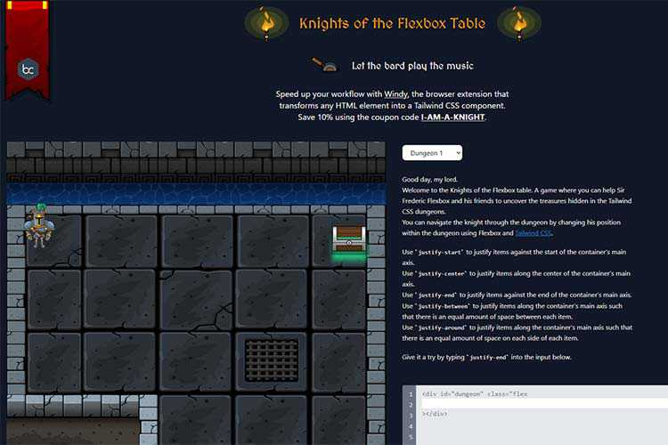 Example from Knights of the Flexbox Table