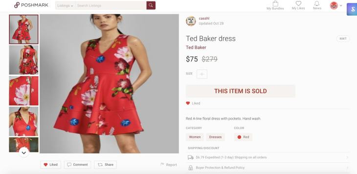 Shows a Ted Baker dress listed on Poshmark saving $200.