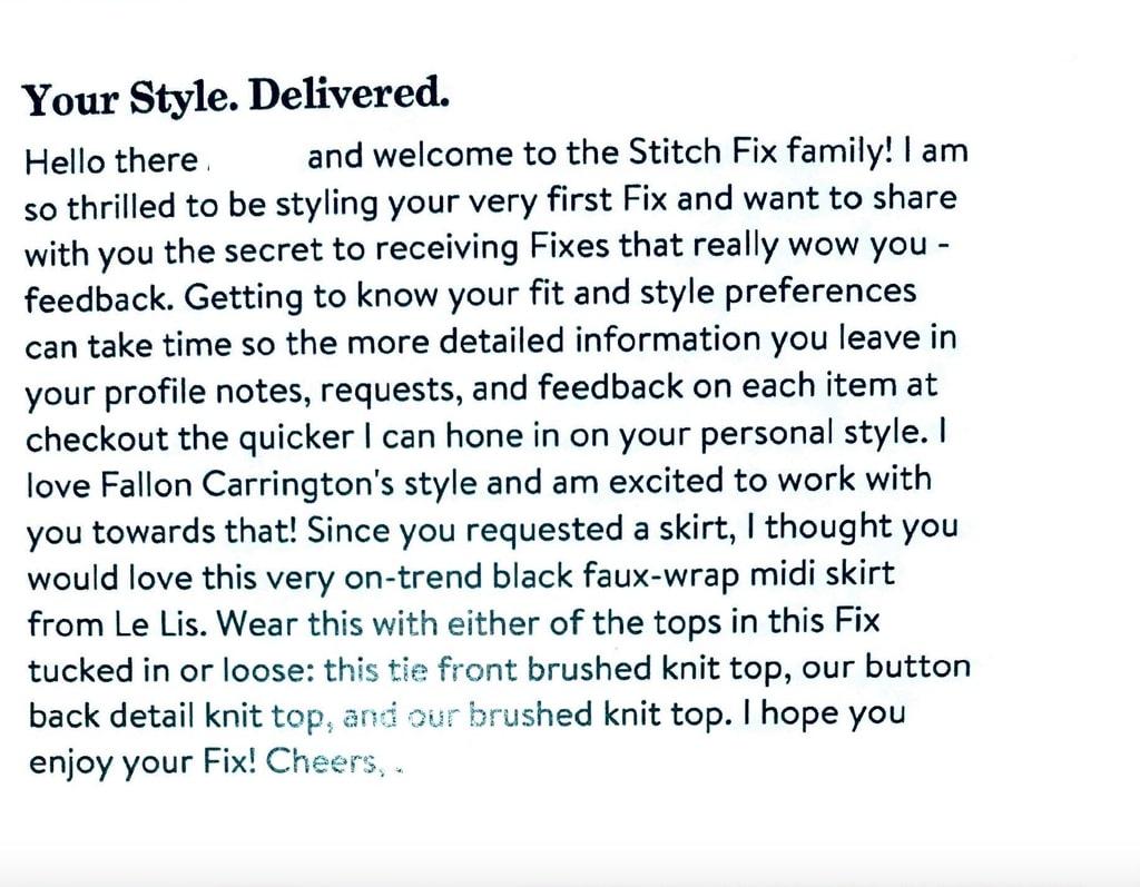 message from stitch fix stylist