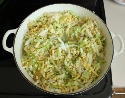 Corn chutney cooking
