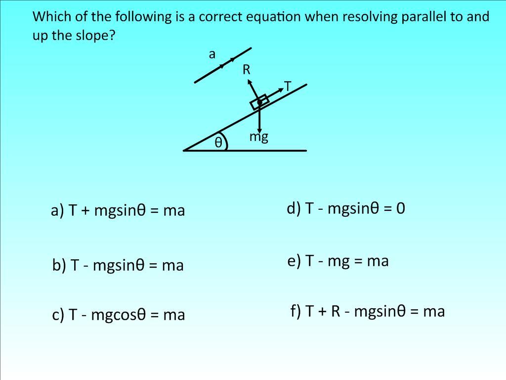 Resolving Using F Ma Hinge Questions