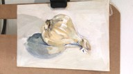 "Garlic study, oil on canvas panel, 5"" x 7"""
