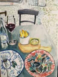 "Dinner in Brugge, watercolor, 5"" x 7"""