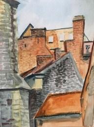 "Rooftops in Brugge, Watercolor, 5"" x 7"""