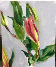 "Lillies, Acrylic on Canvas panel, 10"" x 8"""