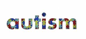 The word 'autism' depicted in colourful puzzle pieces. For a feature titled - Say no to the autism puzzle piece
