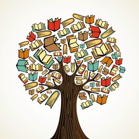 Stylised image showing a tree with books as leaves, to illustrate 'Autism from A to Z', a book on autism neurologies.