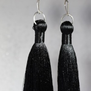 Black Silk Tassel earrings