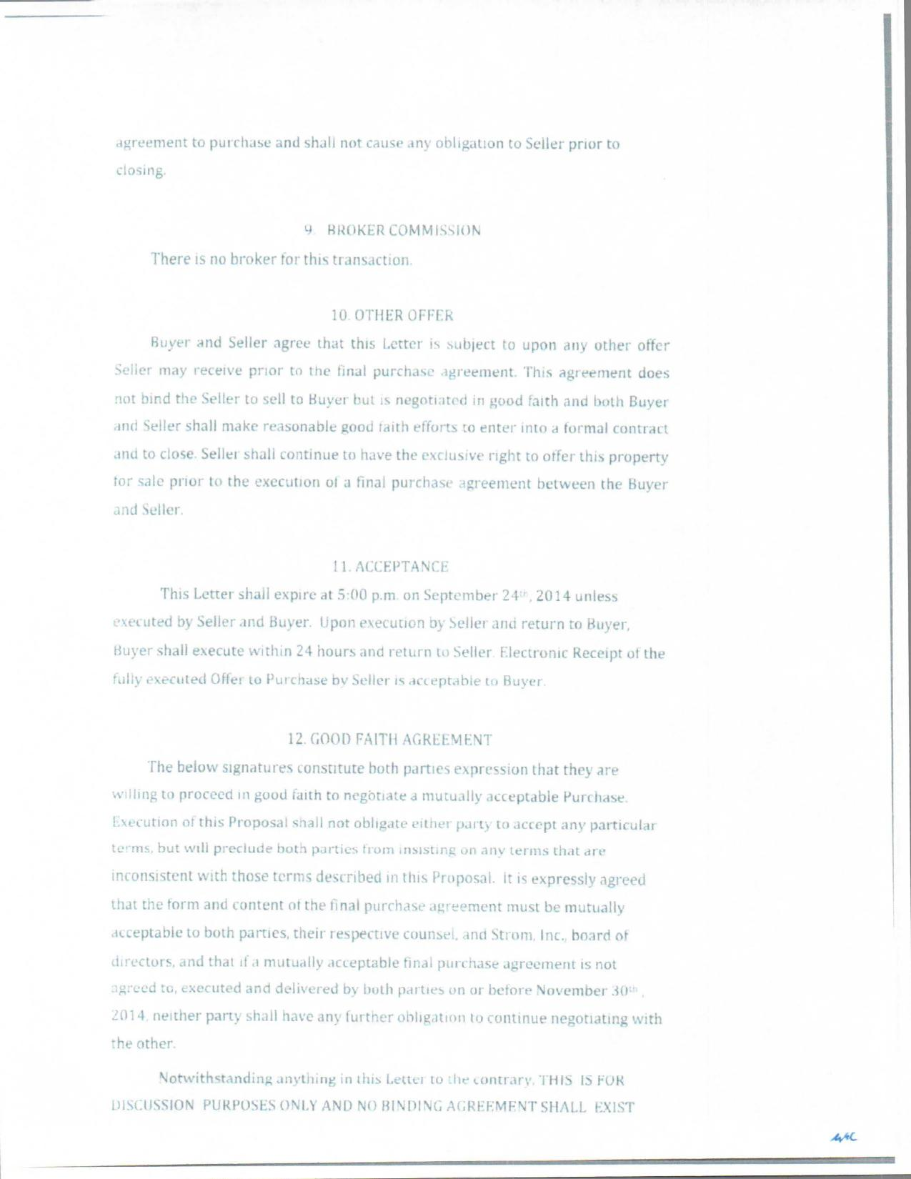 1275×1650 Non-Binding Letter of Intent to Purchase