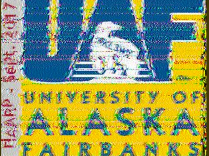 A University of Alaska logo, bright yellow with a polar bear, is shown as it was received by a radio operator in Victoria, B.C.