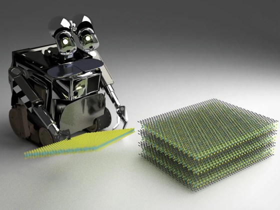 An artist's impression of a robot, powered by artificial intelligence, in the process of fabricating a van der Waals heterostructure
