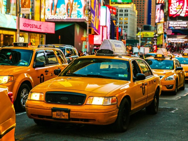 A Group Of Nyc Taxis