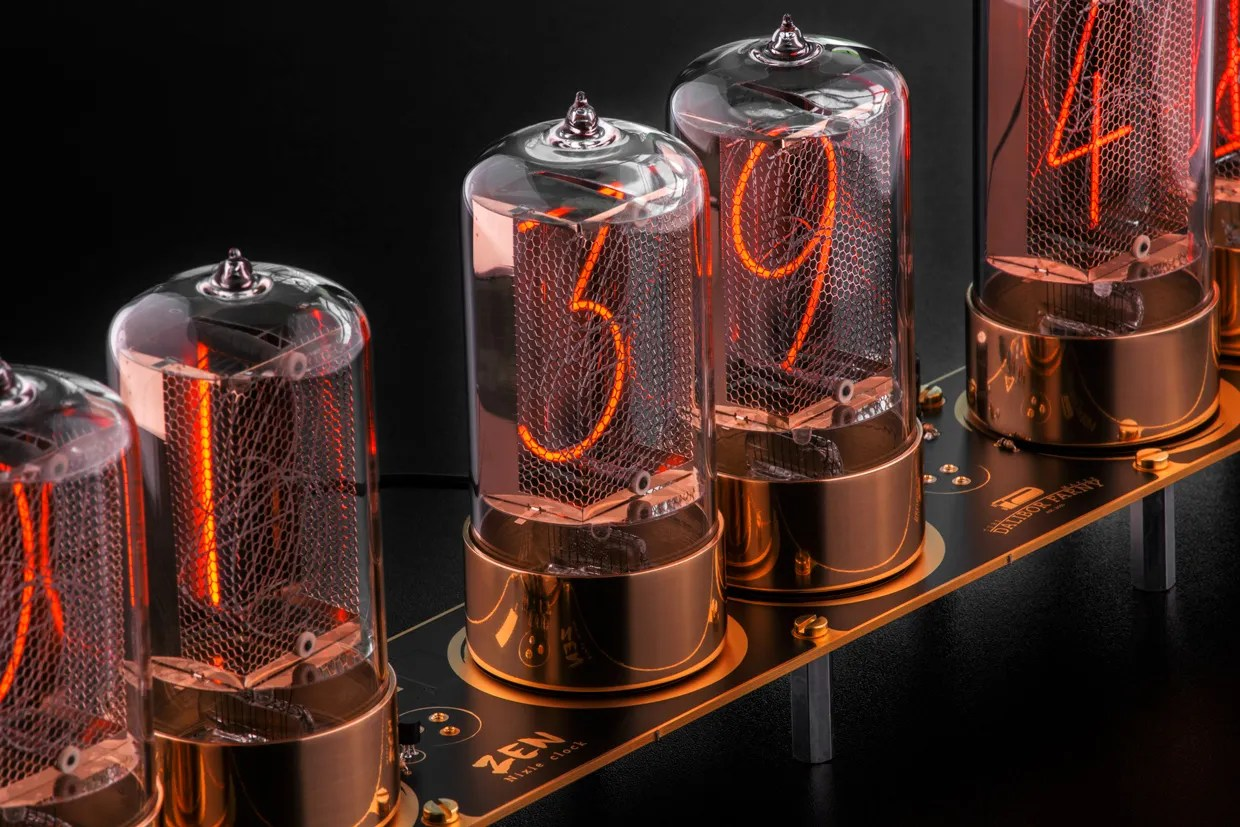 hight resolution of photo of a clock features modern day nixie tubes made by dalibor farny