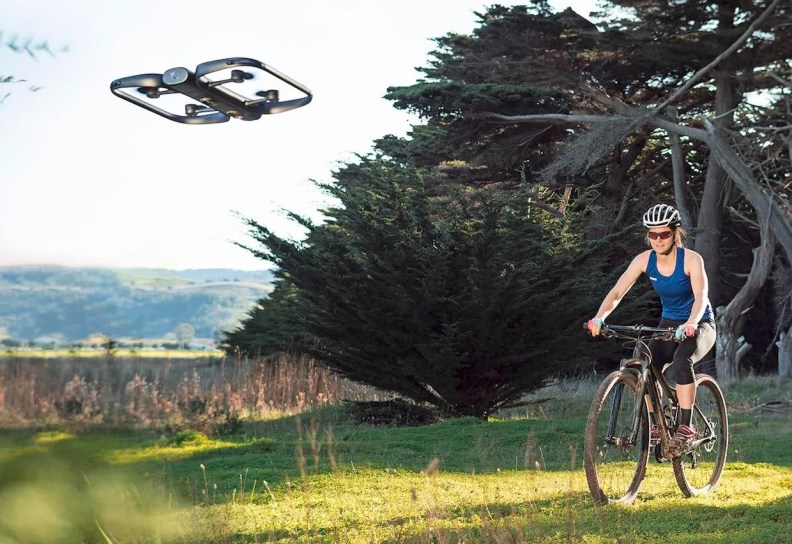 Skydio R1 drone filming a bicycle rider