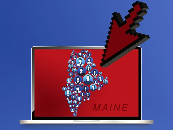 Illustration of the state of Maine made up of people, on a computer with a pointer arrow.