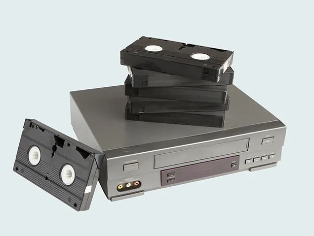 Photo of VCR, VHS, videocassette recording tapes