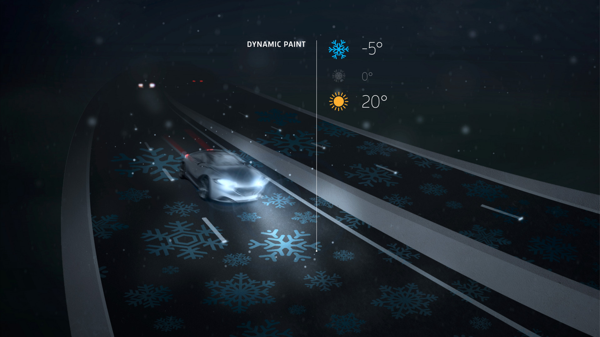 Car passing over a motorway marked with blue snowflakes painted in temperature sensitive paint.