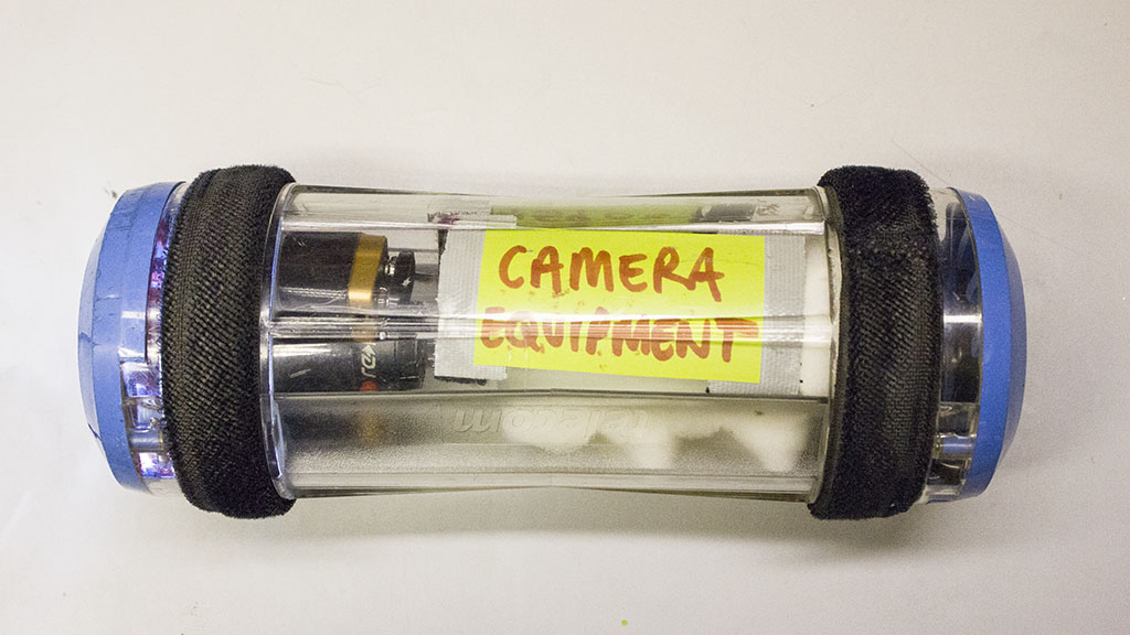 Camera equipment mounted inside a pneumatic transport pod