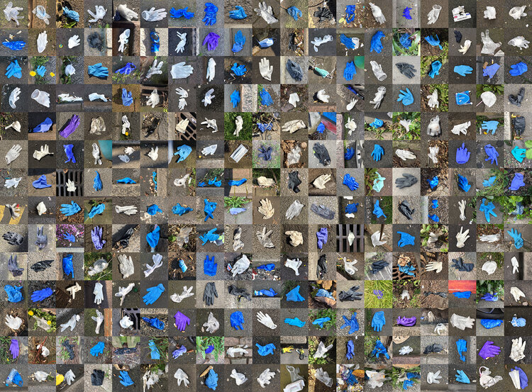 A grid of photographs showing discarded disposable gloves