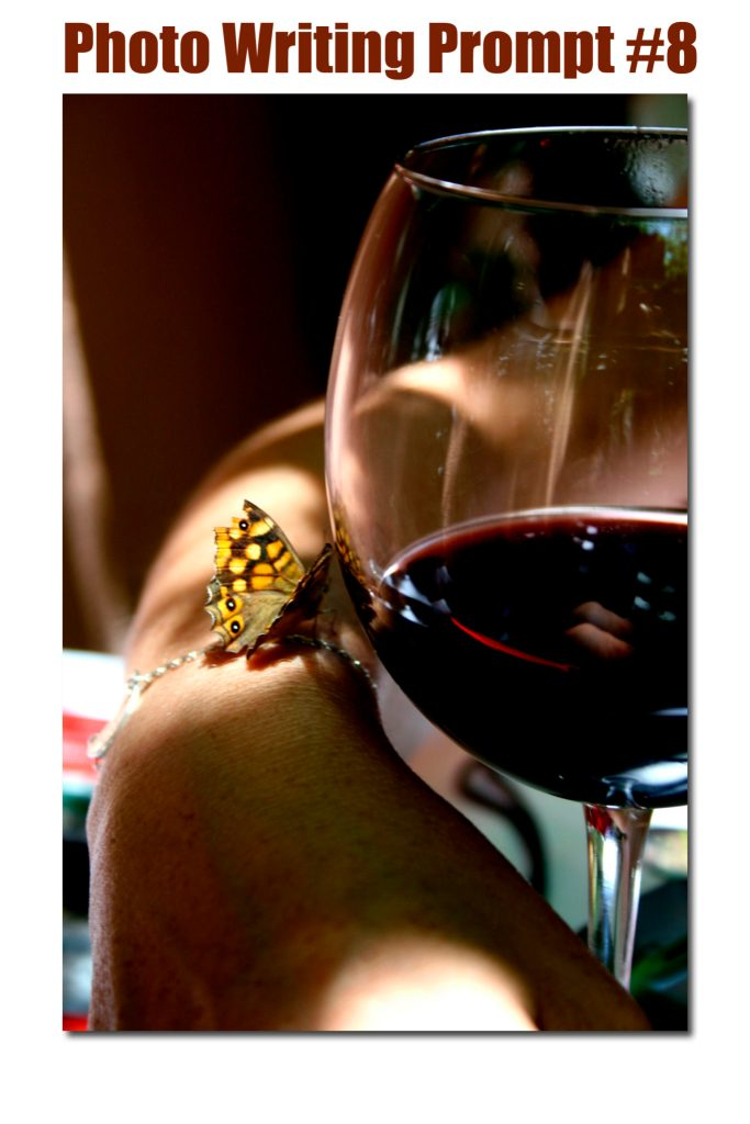 photo writing prompt, writing prompt, wine, butterfly