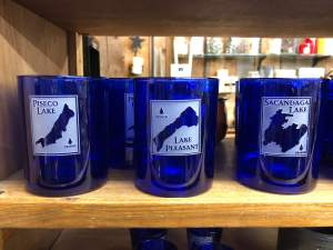 Custom etched glasses that beautifully represent local Adirondack lakes. Made by American Crystal.