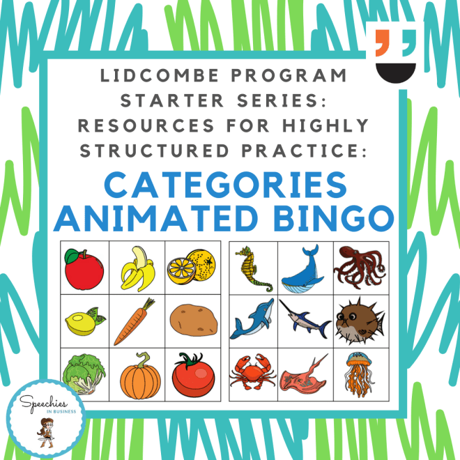Lidcombe Program Starter Series Categories Bingo