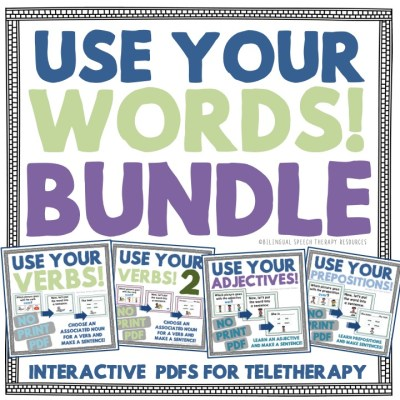 Use Your Words Bundle – 4 Interactive PDFs for Your Teletherapy Students